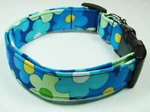 Charming Blue with Teal & Green Flowers Dog Collar