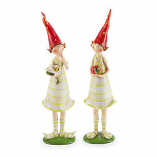 Garden Figurine Ornaments Strawberry Pixies Fairy Polyresin Standing Set of 2