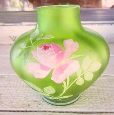 Carl Goldberg Bohemian Glass Green Satin Enameled Vase