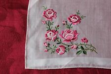 Vintage Swiss Hand Embroidered Roses On Linen Or Cotton Handkerchief c1940-1950