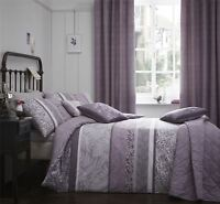 BANDED FLORAL LEAVES HEATHER PURPLE LILAC SINGLE DUVET COVER