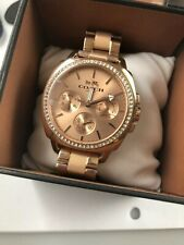 $250 COACH Womens Boyfriend Rose Gold Crystal Dial Leather Band Watch 14503135