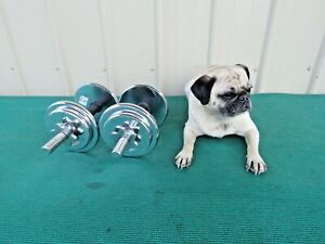 Adjustable Chrome 15 lbs. Dumbbell Barbell Plate Set 30 lbs. Total