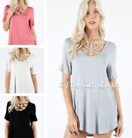 Criss Cross Caged Strappy Detail Scoop Neck Short Sleeve Round Hem Tunic Tee Top