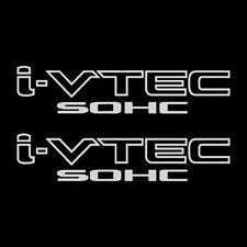 2x White i-VTEC SOHC Vinyl Decal Stickers Emblem Honda Acura ivtec