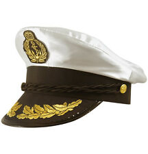 CAPTAIN HAT WHITE SATIN YACHT BOAT NAVY ADULT CAP SAILOR COSTUME HAT FANCY DRESS