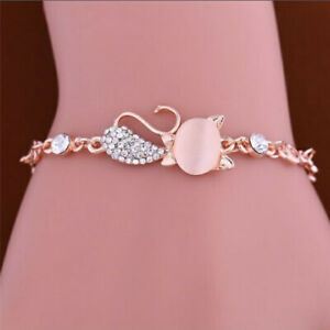Fashion Crystal Zircon Bangle Gold Cat Bracelet Chain Crystal Jewelry New