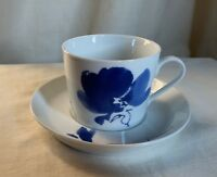 "Studio Nova - Mikasa ""Ming Blue"" teacup and saucer. Blue cobalt stylized flower."