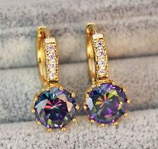 18K Yellow Gold Filled - 9mm Round Flower Topaz Zircon Hoop Women Party Earrings