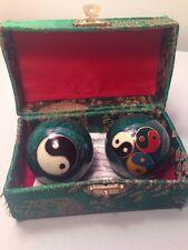 Healthy Ball Set Baodi Chinese Meditative Yin Yang Motif With Bell Sounds & Box