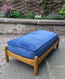 Ercol Renaissance Large Footstool light wood frame newly upholstered refurbished
