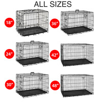 Pet Cage Strong Metal Travel Crate Training Carrier Dog Cat Puppy Vet Tray Large