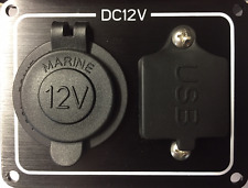 12 Volt Power Socket & 2 USB Points Black Aluminium Plate IP65 Water Resistant