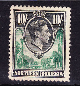 NORTHERN RHODESIA George VI 1938 SG44 10/- green & black very fine used. Cat £35