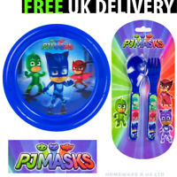 BOYS CHILDRENS PJ MASKS CUTLERY SET DINNER PLATES BOWL FORKS SPOONS BLUE PLASTIC