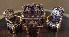 Vintage Limoges Porcelain Miniature Salon Set Cobalt - Set of 4