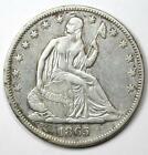 1865 Seated Liberty Half Dollar 50C - VF / XF Details - Rare Civil War Coin!