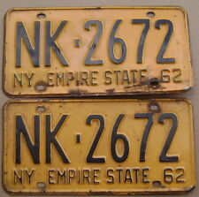 1962 NEW YORK LICENSE PLATE PAIR # NK-2672