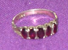 Vintage 1988 Plata Esterlina Birmingham y 5 Granate Anillo de piedras preciosas Size UK M