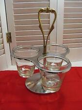 Vintage Lazy Susan Chrome & Glass Condiment Serving Set with 3 Bowls Mid Century