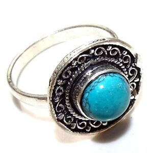Free Shipping Turquoise Stone 925 Silver Plated  Ring Size 8 MR21-73
