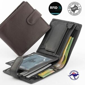 New Genuine Full Grain Premium Cowhide Leather RFID Protected Wallet Brown