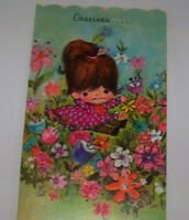 Vintage Greeting Card Buzza Gracious Your Heart Is Spacious Little Flower Girl