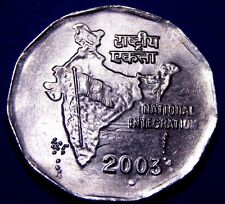 *Clashed Dies Ch Bu* India 2003 Noida Mint 2 Rupees National Integration Coin