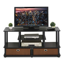Furinno JAYA Large TV Stand for up to 50-Inch TV with Storage Bin, 15119EXBKBR
