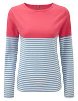 Dales Collection Ladies Crew Neck Long Sleeve Striped Top Cotton Pink Blue 12-20