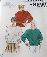 Kwik Sew Womens Pattern #1460 Vtg 80s pullover knit top  long sleeve sz ALL