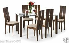Solid Beech / Walnut / Glass Dining Table & 6 Dining Chairs W150cm CAYLA