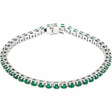 "Emerald Tennis 7"" Bracelet In 14K White Gold"