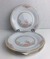 Crown Ming China CHRISTINA #1392 Round Gold Trim Dessert Plates (4) 8 avb