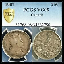 1907 Silver Canada 25 Cents PCGS VG08 Very Good Quarter Dollar 25c Classic Coin