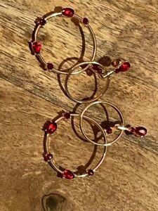 Antike Ohrringe Vergoldet Granat Steine
