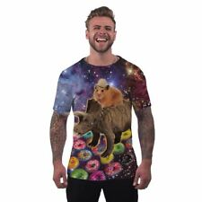 Mens Novelty Holiday T Shirt Hamster Dinosaur Funny Rave Printed Clothing - M