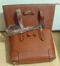2pcs/ Women Ladies Leather Handbag Shoulder Satchel Messenger Bag Brown BNWT