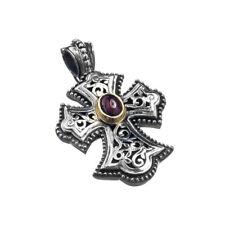 & Garnet Byzantine Filigree Cross Pendant Gerochristo 5283N ~ Solid Gold, Silver