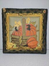 "Pumpkin Faux Slate Wall Hanging Decor 8"" x 8"" Fall Autumn Halloween Harvest"