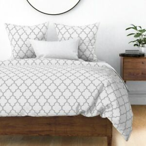 Ogee Trellis Moroccan Sparrowsong Quatrefoil Sateen Duvet Cover by Roostery