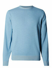 NEW ex- MARK and SPENCER LIGHT BLUE PURE COTTON PLAITED JUMPER  Small- XLarge