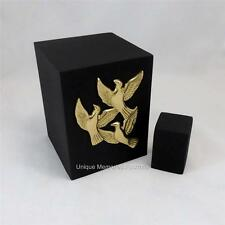 Ascending Golden Doves Black Rustic Cube Cremation Cinerary Memorial Funeral Urn