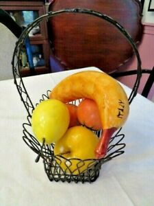 WIRE BASKET WITH MARBLE, GLASS, PORCELAIN APPLE, 2 TOMATOES, BANANA & PEAR