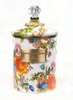 """MacKenzie-Childs Flower Market Medium Enamel Canister - White 5"""" dia, 5.75"""" tall"""