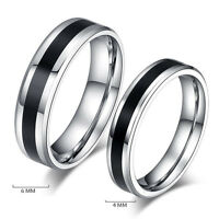 Charm Black Titanium Band Stainless Steel Ring Jewelry For Men Women Size 6-12