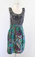 Maeve Anthropologie Seaside Fields Ruffle Paisley Print Sheath Dress Size 8 Silk
