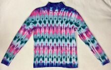 TIE-DYE Vertical Stripes RECYCLED Cotton Cable Knit SWEATER - Women's S