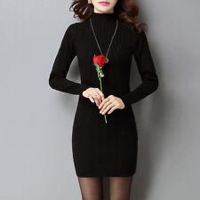 Sexy Warm Korean Women Turtleneck Winter Pullover Sweater Knit Pencil Mini Dress