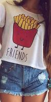 Lady Women Summer Vest Tank Top Cartoon Loose Blouse Casual Best Friend T-Shirt